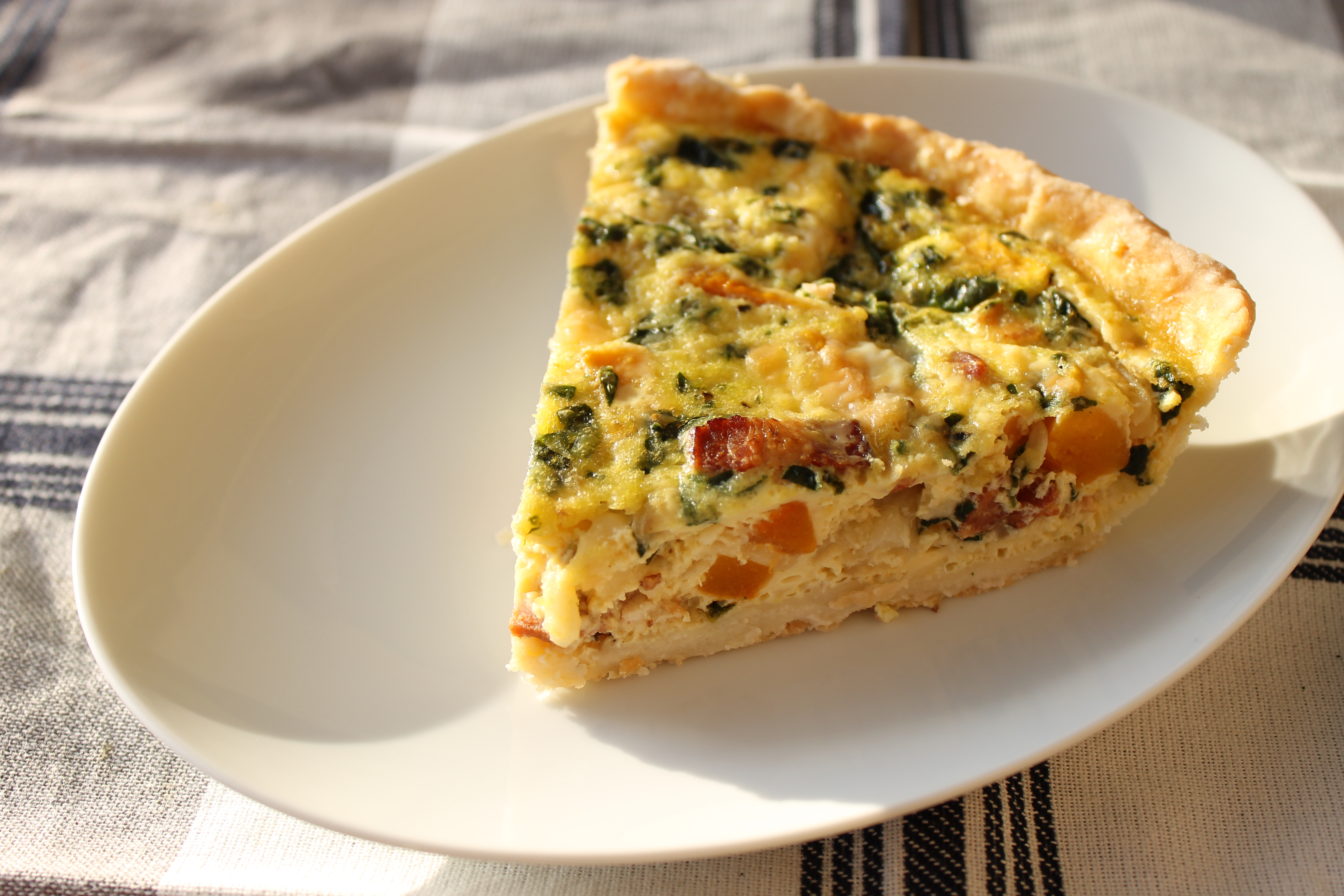 Butternut Squash, Bacon, Onion, and Spinach Quiche Hickory Creek