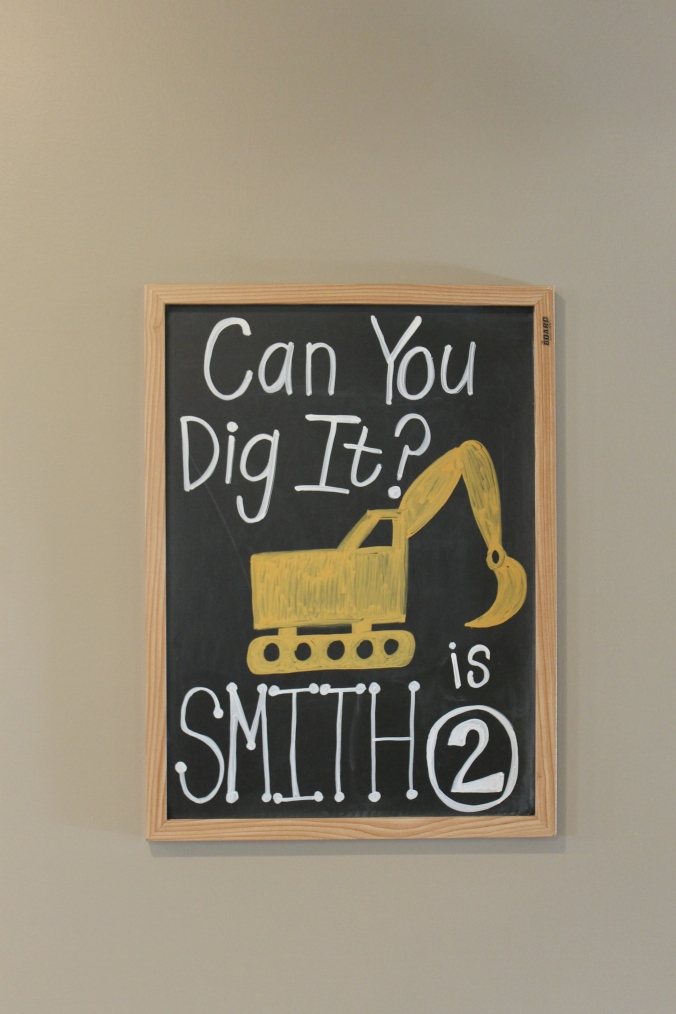 construction birthday chalkboard